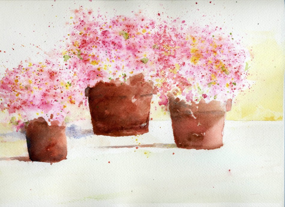 Strawberry Burst pink watercolor flowers
